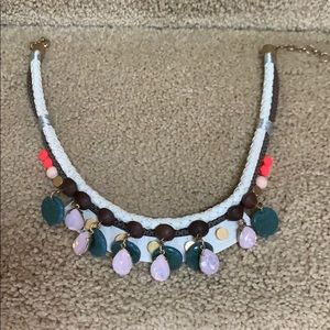 J. Crew Statement Necklace with Leather and Wood